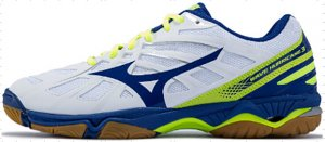 Mizuno Wave Hurricane 3 Volleyball Shoe (White/Blue/Safety Yellow) - US 9.5 Only